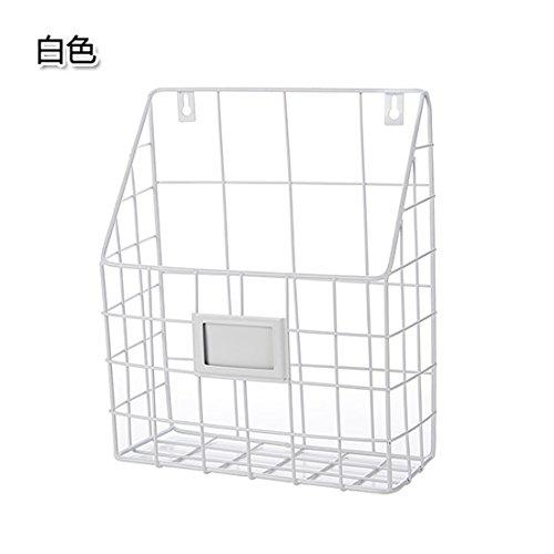 ShouYu Schmiedeeisen Wand montiert Bücherregal einfache Wohnzimmer Zeitungsständer Zeitschriftenständer Aufbewahrungskorb (weiß)