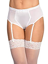Crossdressers briefs with garter in white color.