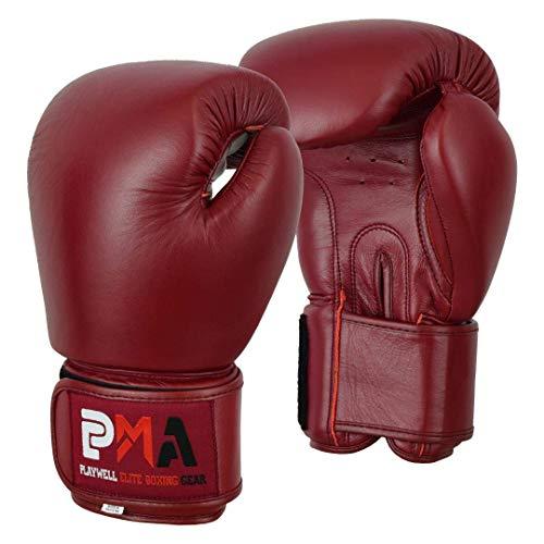 Elite Cuero Clásico Granate Guantes de Boxeo - Par - Granate, 16oz