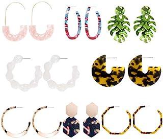 CZCCZC Acrylic Earrings Hoop Earrings Acrylic Resin Drop Dangle Earring Bohemian Statement Stud Earrings