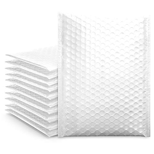 Fuxury/Fu Global 6x10 50Pcs Poly Bubble Mailers Set #0 for CDs & Jewelries & Cosmetics, Self Seal Padded Envelopes Bulk with Bubble Lined Wrap- White