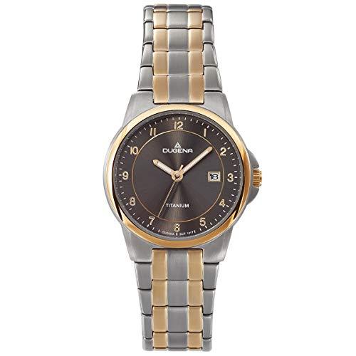 Dugena Damenuhr Titan mit Titan Glieder Armband Datum Bicolor 4460916