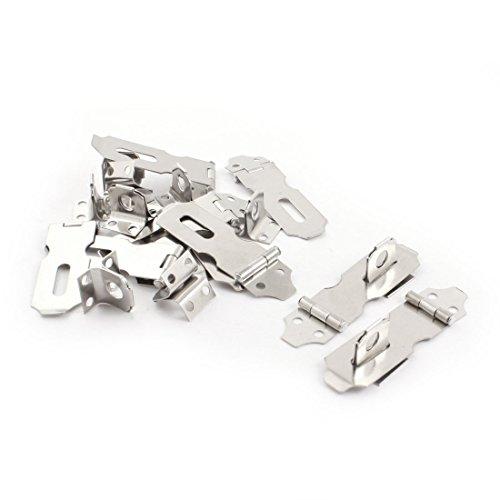 sourcingmap® 10Sets Silber Ton Metall Schrank Tore Vorhängeschloss Türklinken Sicherheits-Überfalle de