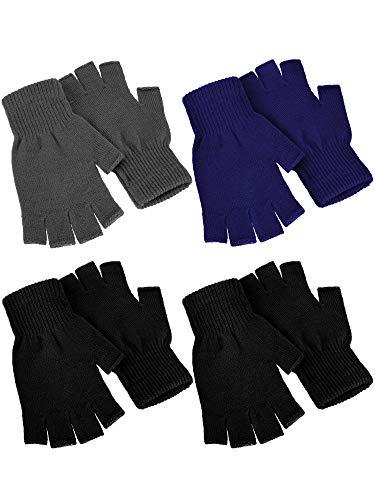 4 Paar Winter Halbfinger Handschuhe gestrickt fingerlose Fäustlinge Warm Dehnbare Handschuhe für Damen und Herren - - Medium