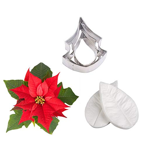 AK ART KITCHENWARE Floral Veining Molds and Fondant Cutters Gumpaste Flower Making Tools Set for Decorating Cakes (Poinsettia)