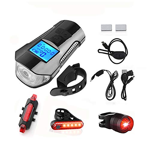 FDYZS USB Recargable Bike Light Runtime 8+ Horas 400 Lumen Ajustable Modos de iluminación, se Adapta a Todas Las Bicicletas
