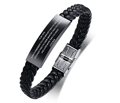 XUANPAI Personalized Black Stainless Steel ID Message Braided Leather Bracelets Jewelry for him,Custom Men Bracelet (to My Son-Love MOM)