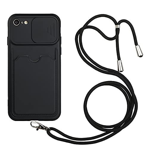 LeviDo Funda Compatible para iPhone 6/iPhone 6s Silicona 3D Tarjetas TPU Bumper con Cuerda Cordon Correa Ajustable Protección de La Cámara Carcasa Case Antigolpes Resistente Cover, Negro