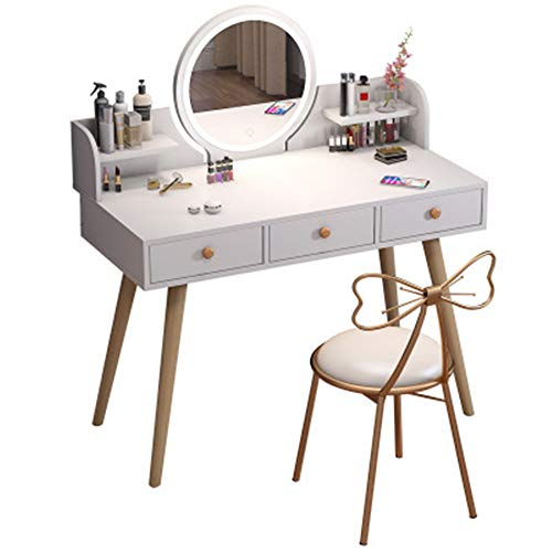 Kaptafel met dimbare touchscreen-spiegel, moderne make-uptafel voor de slaapkamer en kruk met kussens, make-uptafel met ovale spiegel en kruk, set voor damesmeisjes