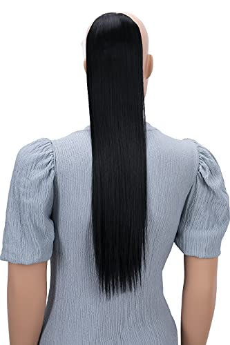 PRETTYSHOP 60cm Haarteil Zopf Pferdeschwanz Haarverlängerung Glatt Schwarz HC9