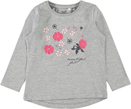 NAME IT T-shirt à manches longues « fleurs » top bébé vêtements bébé, Grey Melange