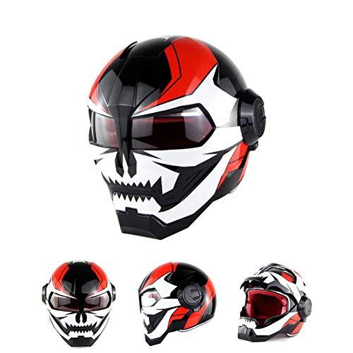 Braveking Motorradhelm, Iron Man-Integralhelm, Transformers Klapphelm, Vintage Harley-Helm,10,M