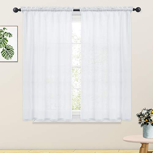 White Linen Textured Curtains 54 inches Long Semi Sheer Curtains Living Room Bedroom Basement Window Curtain 2 Panels Rod Pocket