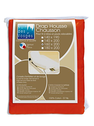 Nuit des Vosges 2098532 Cotoval Drap Housse TPR Uni Coton Cuivre 160 x 200 cm
