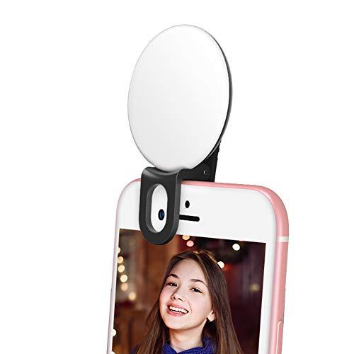 Peaceip Selfie Ring Licht Dimbaar 20 Led Lamp Kralen 3 Kleur Dimmen Mobiele Telefoon Clip USB Opladen voor YouTube, Zelf Portret black Blauw
