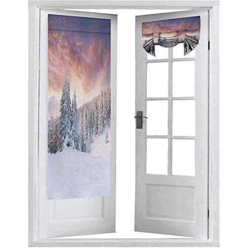 Cortina opaca para puerta, amanecer en el invierno, paisaje, campos nevados, árboles de pino congelados del hemisferio norte, 2 paneles de 66 x 172 cm, bloque de luz para puerta francesa,