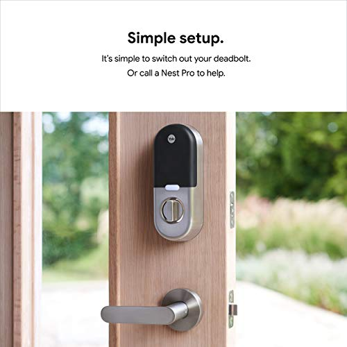 Google Nest x Yale Lock - Tamper-Proof Smart Lock for Keyless Entry - Keypad Deadbolt Lock for Front Door - Works with Nest Secure Alarm System - Satin Nickel