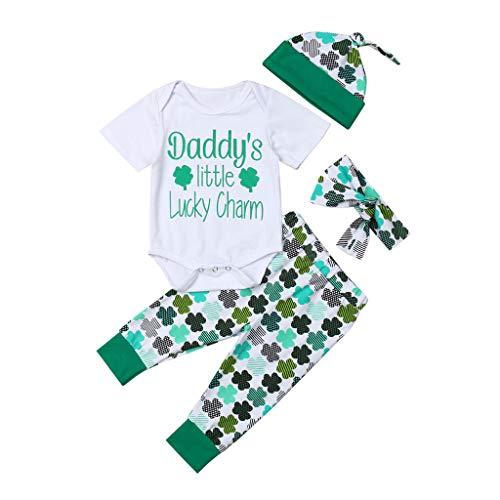 St. Patricks Day Babykleidung 4 Stücke Outfits,ZHANSANFM Grün kleeblatt Strampler + Hose + Stirnband + Mütze Neugeborenes Baby Festlich Warme Kleidung Set Kleinkinder
