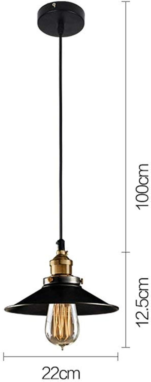 BAIF Lustre de Couvercle en Fer rétro, loft créatif Industriel Vents Bar Lampe café Restaurant tête Simple E27, Ligne de Suspension 100cm Peut Ajuster mode.z (Taille  A)