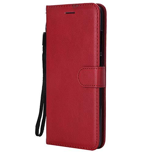 Hülle für Xiaomi Redmi 5Plus Hülle Handyhülle [Standfunktion] [Kartenfach] Tasche Flip Hülle Cover Etui Schutzhülle lederhülle flip case für Xiaomi Redmi 5 Plus - DEKT051888 Rot