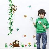 Uccello Leone Cielo Sole Albero Bambino Bambino Altezza Misura Grafico di crescita Adesivo murale Adesivo murale Camera dei bambini Scuola materna