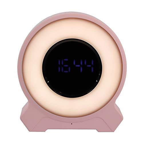 Tosuny nieuwe wekkerradio met gekleurde lichten, digitale wekkerradio, bluetooth 4.2, TF-kaart, AUX-verbinding, Touch Dimming White & Pink, roze