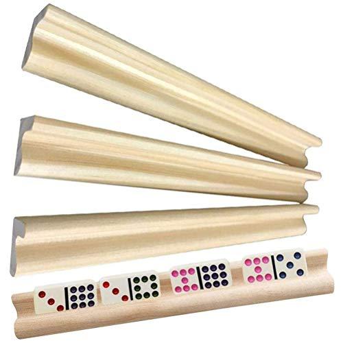 MIFASA Domino Bandejas, 4 bandejas dominó de madera, soportes para dominó para...