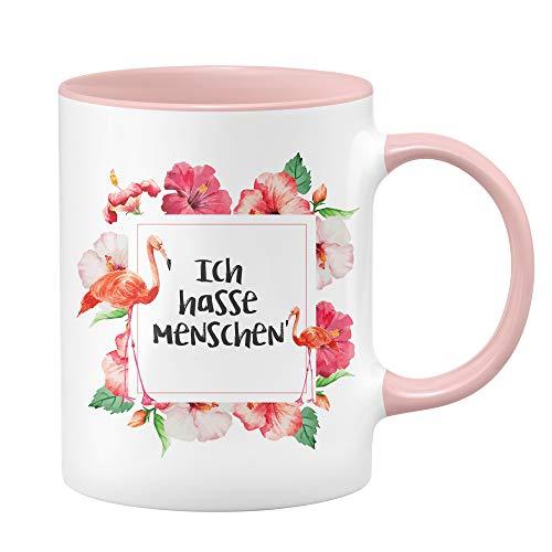 Flamingo Tasse - Ich Hasse Menschen - Kaffeetasse - lustige Tassen - witzige Tassen - rosa Tasse