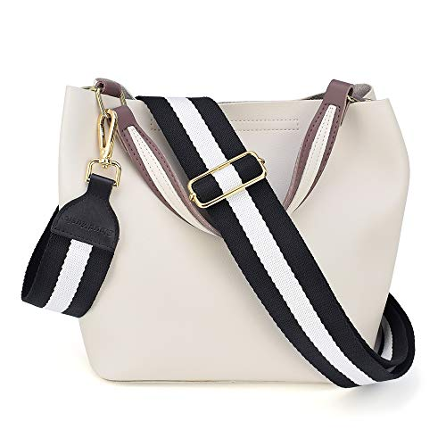 CLOUDMUSIC Handbag Strap Replacement Crossbody Strap Purse Strap For Women Girls (Black and White)