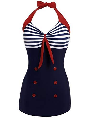Ekouaer Women's Lace Up Keyhole Push Up High Waist One Piece Swimsuit Monokini Blue X-Large