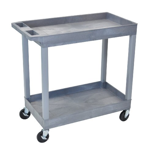 "Luxor EC11-G Tub Storage Cart 2 Shelves - Gray , 32"" x 18"""