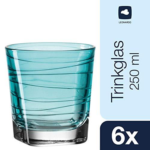 Leonardo Vario Struttura Becher klein Laguna, 6-er Set, 250 ml, türkisfarbenes Klarglas mit Colori-Hydroglasur, 018231