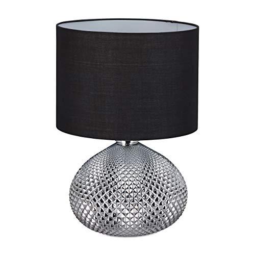 Relaxdays Nachttischlampe, moderne Tischlampe, Lampenschirm, elegant, Glasfuß in Silber, E27 Fassung, 50cm hoch, schwarz