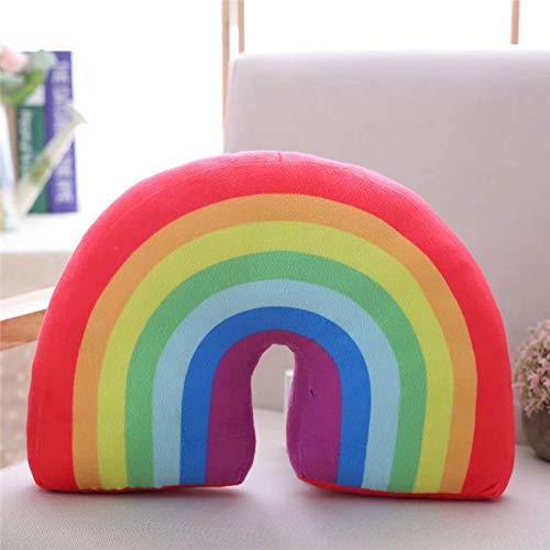 DJSK Mignon Rainbow Pillow en Peluche Jouet Canapé Coussin Oreiller Student Classe Bureau Sieste Oreiller Tir Accessoires 35cm Arc en Ciel Rouge