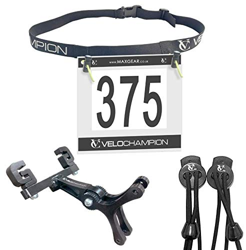 VeloChampion Triathlon Starter Gift Pack - Bundle Includes: Race Number Belt, Double Cage Mount and Elastic Lock Laces