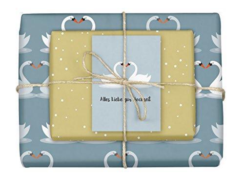 dabelino 4X Geschenkpapier Hochzeit: Schwäne/ Herz (zweiseitig weiß-blau/ beige, öko) | Set inkl. Karte: Alles Liebe zur Hochzeit