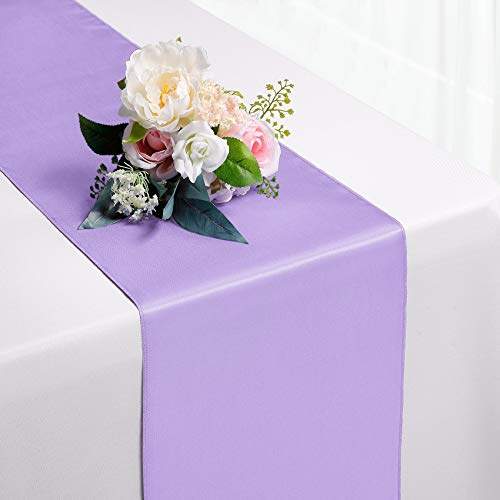 Hahuho 1-Pack Satin Table Runner Lavender 12 x 108 inches Long, Table Runners for Wedding, Birthday Parties, Banquets Decorations(1 Pack, 12x108 Inch, Lavender)
