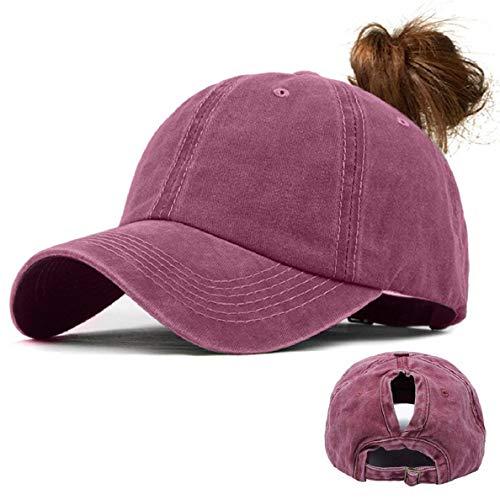 Voqeen Gorras de Beisbol para Hombre Mujeres Classic Ajustable Sombreros de béisbol de Cola de Caballo Moda Color sólido Gorra Retro Unisex Viseras molienda Borde Haga Viejo Sombrero (Vino Tinto)