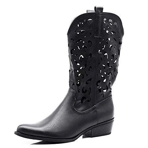 IF Fashion Cowboy Western Scarpe da Donna Stivali Stivaletti Punta Camperos Texani Etnici 629 Nero N.36