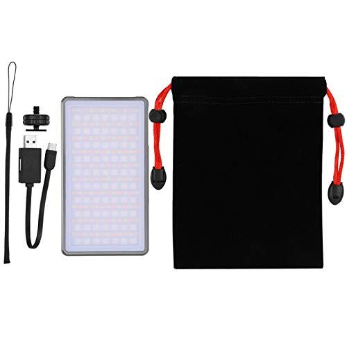 CHENQIAN Ra96+ RGB 2500-8500K con Regolazione Continua della Luce a LED Lampada Video Luci di riempimento della Fotocamera Porta di Tipo C Nera