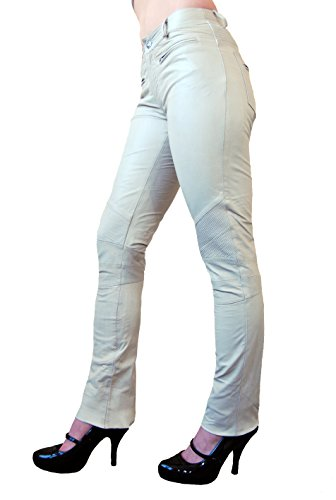 RICANO DONNA Damen Lederhose, Ziegen Nappa Echtleder (Weiß, S)
