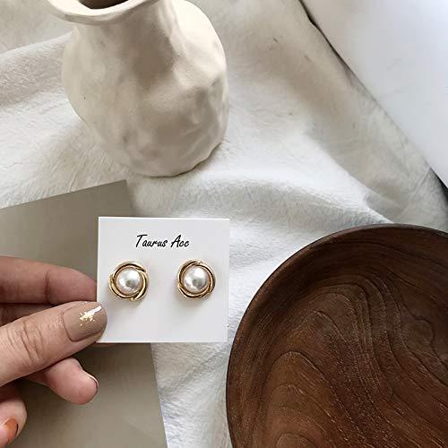 Chwewxi Dormir sin cosechar Pendientes Temperamento Femenino Pendientes de Perlas de pétalos Retro de Corea Pendientes Pendientes Modelos de Clip de Oreja, pétalos Grandes - Aguja de Plata