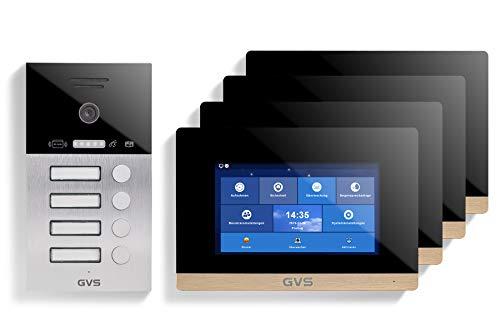 GVS AVS4054A - Videoportero IP (IP65, con RFID, monitor de 4 x 7 pulgadas, aplicación para el móvil, cámara HD de 120 °, función de apertura de puerta, 32 GB, conmutador PoE, 4 casas familiares)