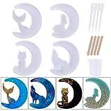 13 moldes de resina epoxi, moldes de silicona epoxi, lobo luna, gato luna, hada luna, luna de hada, luna cola de pescado de luna o manualidades hechas a mano (estilo 2)