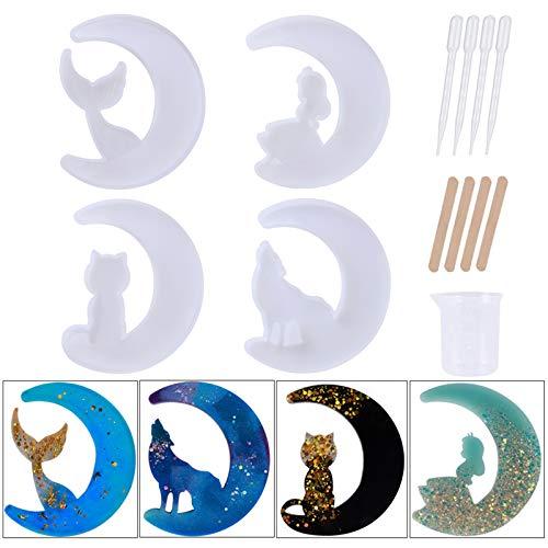 13 moldes de resina epoxi, moldes de resina epoxi, moldes de silicona epoxi, lobo luna, gato luna, hada luna, cola de pez luna, molde de resina o manualidades hechas a mano (estilo 2)