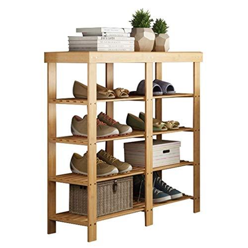 JIADUOBAO Zapatero organizador de almacenamiento de bambú de 4 niveles, ahorro de espacio, estante de almacenamiento para libros de zapatos y macetas