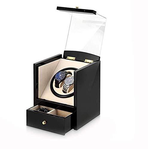 Cajas De Almacenaje Doble Watch Winder con Silencioso del Motor, De Lujo De La PU De Cuero Relojes Rotativos La Caja De Almacenaje con Cajón