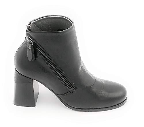 Lilimill 6903 Stiefelette aus schwarzem Leder, doppelter Reißverschluss, quadratisch, 8 cm, Größe Schuh 39 EU Farbe Schwarz