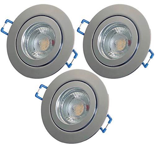 LED Bad Einbaustrahler 230V inkl. 3 x 3W LED LM Farbe Chrom IP44 LED Deckenspots Neptun Rund 3000K Einbauleuchten