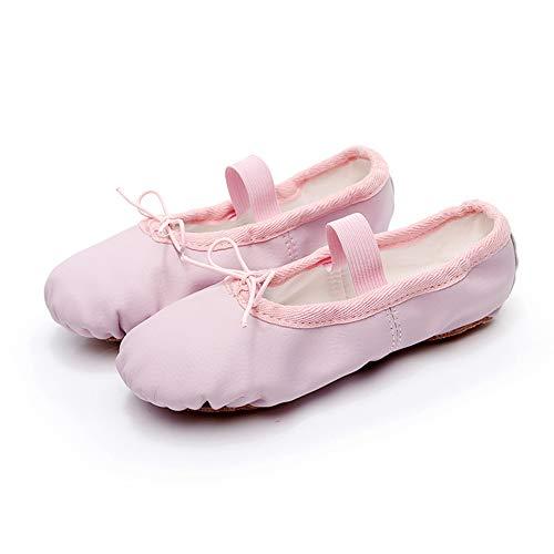Boshiho - Zapatos de ballet de cuero para bailar con suela dividida, zapatos de yoga, suave, antideslizante, ballet, zapatillas de danza para niños, color Rosa, talla 24 EU
